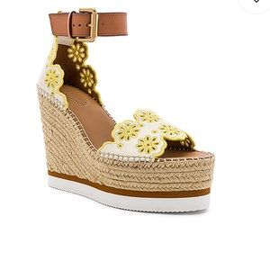 NWT See by Chloe Glyn Wedge Gesso & Yellow 37